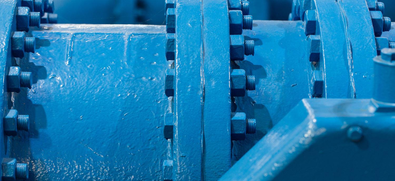 Closeup of potable water pipe