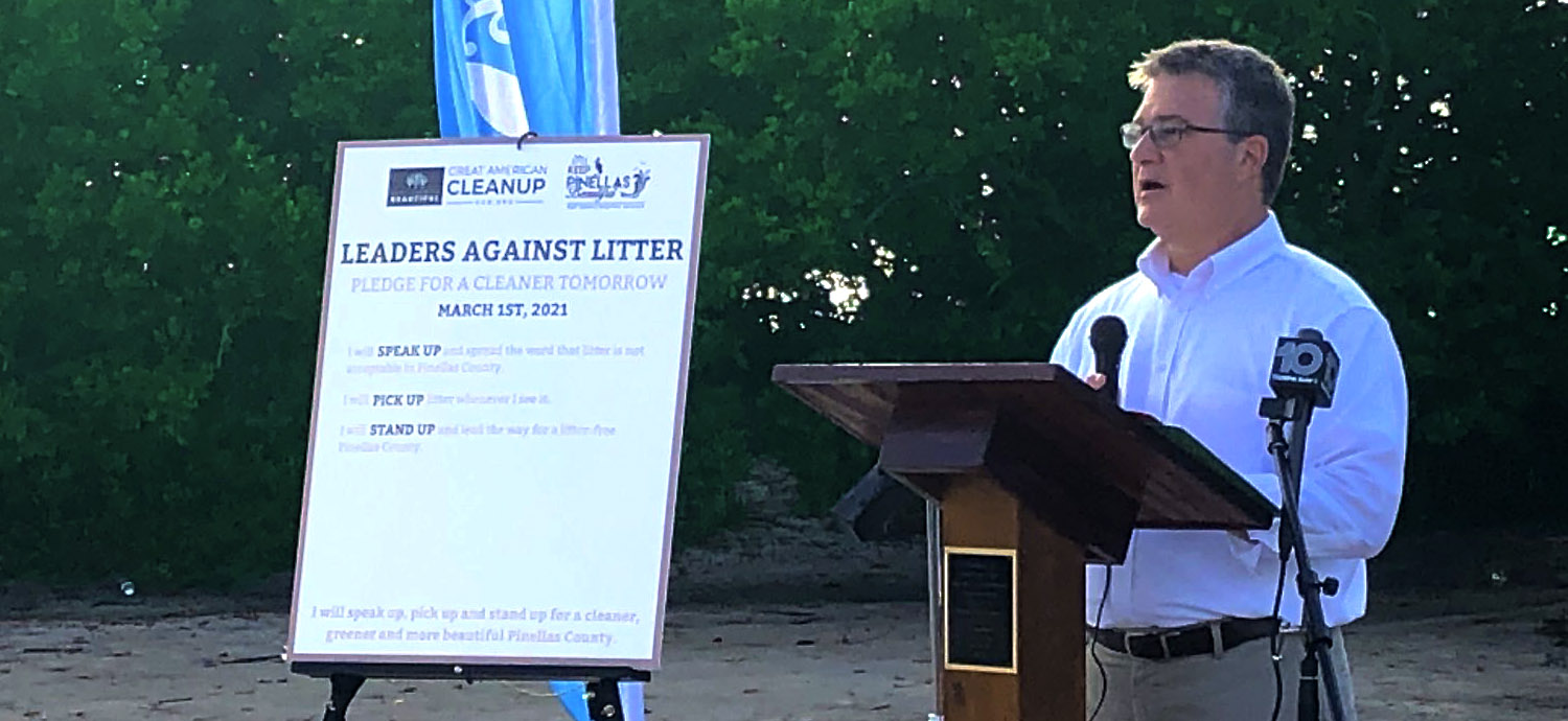 Chuck Carden speaking at Great American Cleanup