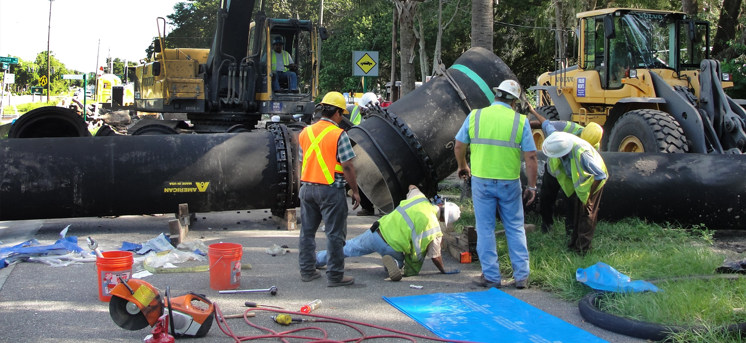 Workers at pipeline construction project