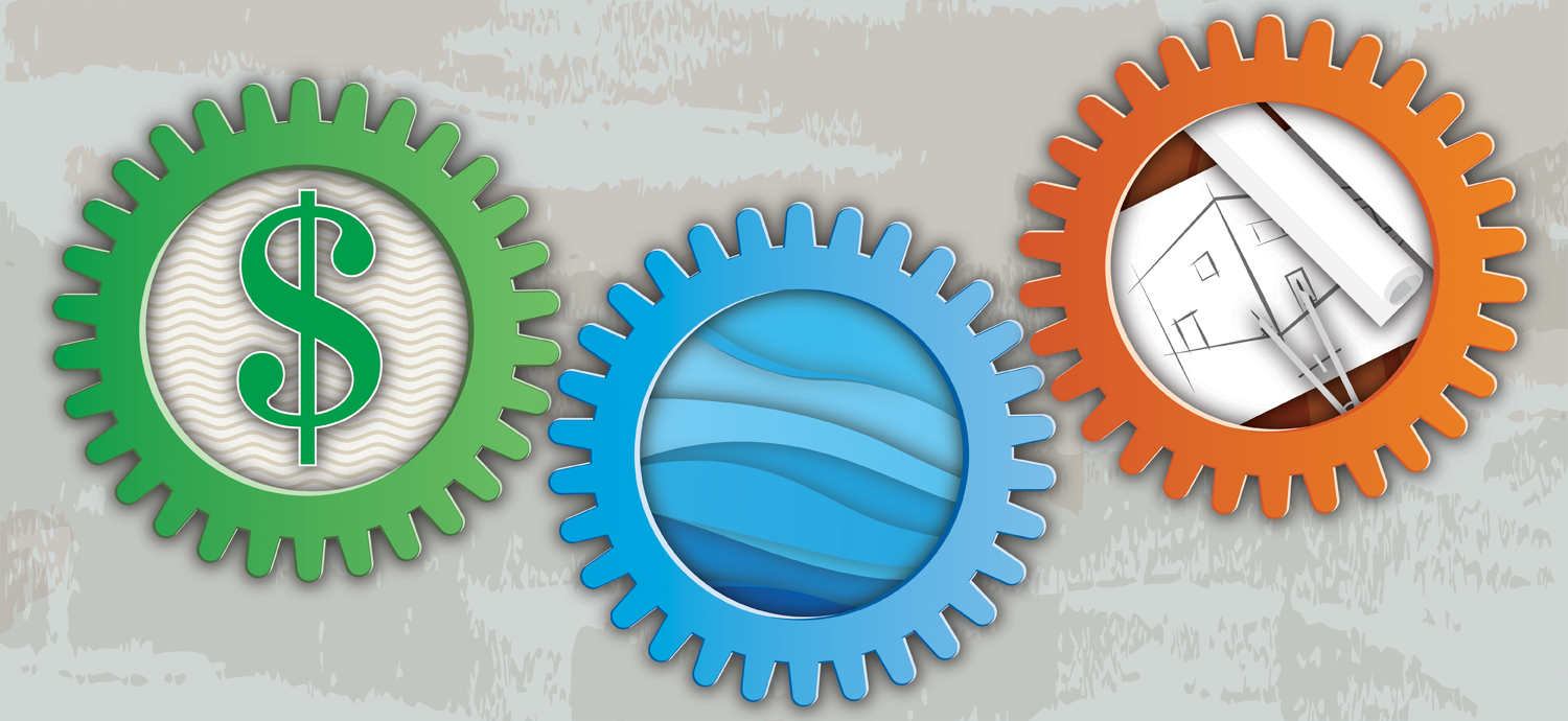 Gears with dollar sign, water and engineering tools