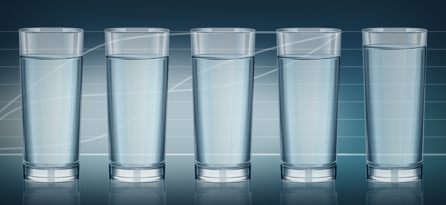 Bar chart of glasses of water showing slight increase