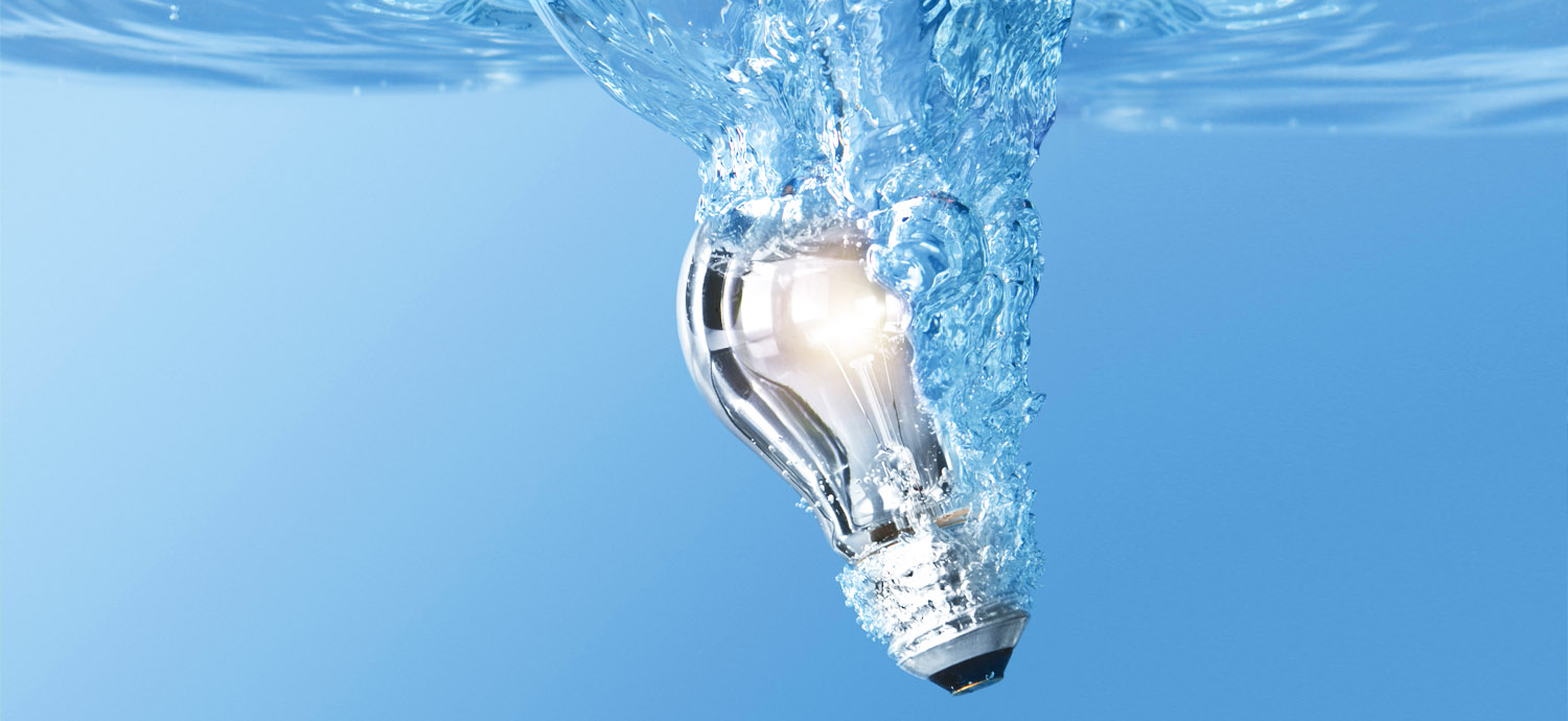 Lightbulb submerged in water