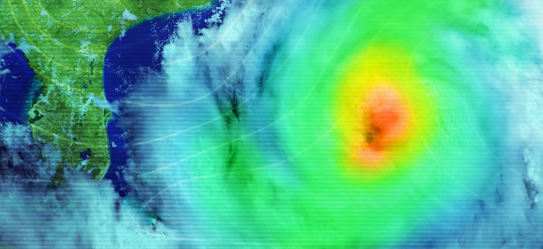 Weather map of hurricane near Florida